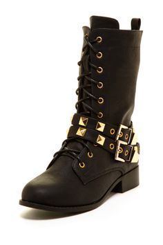 Lace-Up Studded Boot
