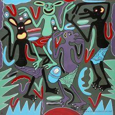 ARTE AFRICANO. OBRA ORIGINAL GEORGE LILANGA. VIPIJAMANI MBONA SIELEWI. 1998.