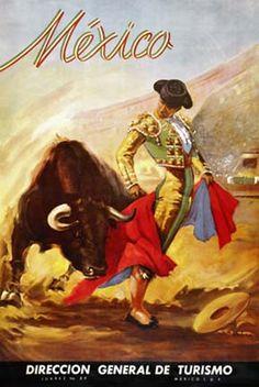 Vintage Mexican Bullfighting Fine Art Giclee Print