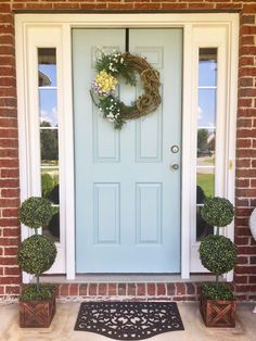 Front Door Colors For Brick Houses. Our Top front door colors for homes with red brick. Pick the perfect color for the front door of your brick house. Exterior Door Colors, Front Door Paint Colors, Painted Front Doors, Exterior Doors, Exterior Paint, Blue Front Doors, Front Door Trims, Best Front Door Colors, Front Doors With Windows