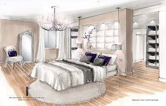 Cheap Home Christmas Decorations Info: 4196695355 Bedroom Drawing, Drawing Room Interior, Interior Sketch, Interior Design Renderings, Interior Architecture, Drawing Furniture, Living Room Interior, Interior Livingroom, Furniture Arrangement