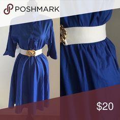 Vintage Royal blue Dress Simple Royal blue dress with side pockets and shoulder pads and elastic waist belt not included. Best fits 5/6 or 7/8 Vintage Dresses
