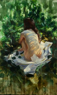 Naked in the Woods - Ilkka Lammi, 1998 Finnish, Oil on canvas, 90 x 55 cm. Woman Painting, Figure Painting, Romantic Drawing, Forest Drawing, Forest Illustration, Painting Inspiration, Art Inspo, Beautiful Artwork, Artist Art