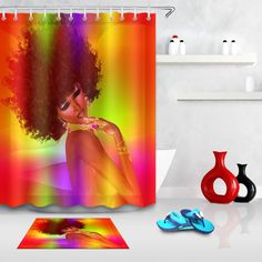 "72/""//79/"" Makeup African Gilr American Afro Black Woman Shower Curtain /& Bath Mat"