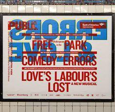 Paula Scher, affiche dans le métro newyorkais pour le festival Shakespeare in the Park 2013