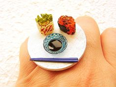 Kawaii Sushi Ring Traditional Japanese Food by SouZouCreations, $12.50