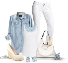 """""""Blue and White"""" by chloe-813 ❤ liked on Polyvore"""