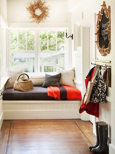 Fixed and Hidden Storage --laundry room/mudroom/entry/reading nook --add lots of storage and a bathroom entrance