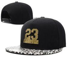 Men's Pyrex Number 23 Gold Metal Logo Faux Snow Leopard Print Visor Hip Hop Snapback Hat - Black