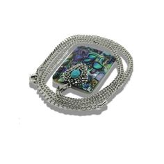 Nature Abalone quartz with crystal Pendant, Rainbow stone Geometry Druzy Pendant, With Crystal Zircon Pave necklace