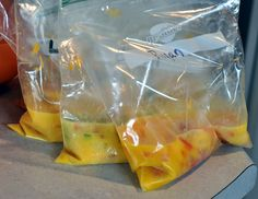 Start by breaking two eggs into a FREEZER ziploc bag. Add the ingredients of your choice just like a traditional omelette. Then, zip the bag close and moosh it up with your hands. You know scramble it! Camping Food Packing, Camping Meals, Camping Box, Camping Tips, Egg Recipes, Snack Recipes, Cooking Recipes, Omelette In A Bag Recipe, Breakfast Dishes
