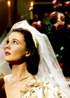 Vivien Leigh in Gone With the Wind - Scarlett married 3 times but this is the only wedding dress we see her wear.