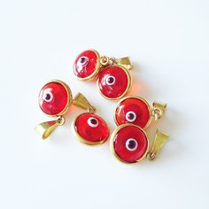 5 Red Evil Eye Gold Plated  Protection Charm by LibertaDesign, $5.00