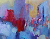 Acrylic Abstract Landscape Painting Contemporary Canvas Happy Day in the City