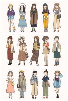Cute Art Styles, Cartoon Art Styles, Arte Fashion, Japon Illustration, Dibujos Cute, Korean Girl Fashion, Drawing Clothes, Cute Cartoon Wallpapers, Mode Outfits