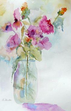 Nancy Standlee Fine Art: Janet Rogers Workshop ~ Flowers Watercolor ~ Art Journal Pages