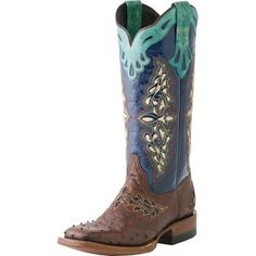 If I can get Jared to buy me some Luccheses!!! ...Women's Lucchese Sienna Full Quill Ostrich-13in Navy Spyker Calf Top Cowgirl Boot