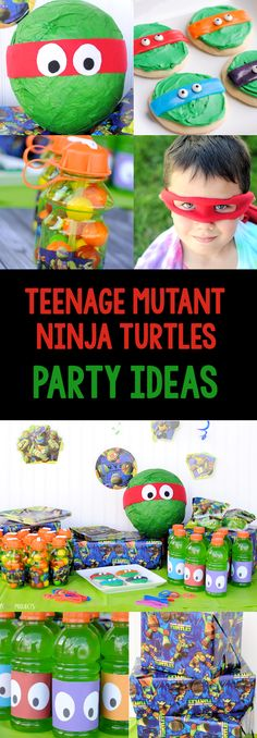 Teenage Mutant Ninja Turtles Party Ideas-Games, Invitations, Favors, Food & More. Turtle Birthday Parties, Ninja Turtle Birthday, Ninja Turtle Party, Birthday Fun, Birthday Party Themes, Birthday Ideas, Ninja Turtles, Party Fiesta, Ninja Party