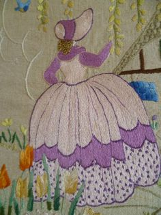 Vintage Hand Embroidered Picture Crinoline Lady COUNTRY COTTAGE Shabby Chic