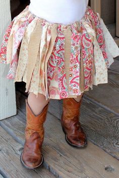 Tutu for baby...Tutu for girls...Multi-colored fabric tutu...Fabric skirt...Pink...Tan...Cream...Country Chic.. $30.00, via Etsy.