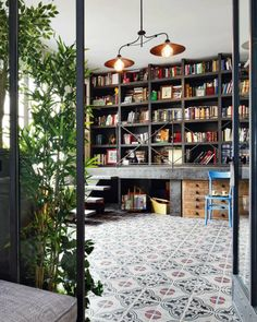 A gorgeous library space in a Spanish home from Architectural Digest.