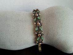 vintage Florenza bracelet / 1950s rhinestone bracelet / sparkly AB stones pink green rhinestones / ornate antiqued gold chain link by PureJoyVintage on Etsy
