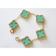 Turquoise Blue Clover Bracelet (€46) via Polyvore featuring jewelry, bracelets, turquoise jewelry, four leaf clover jewelry, clover jewelry, green turquoise jewelry and turquoise bangle