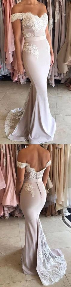 Charming Prom Dress, Off Shoulder Appliques Prom Dress,