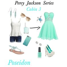 Percy Jackson Series: Cabin 3 Poseidon by smcreddog on Polyvore featuring polyvore, fashion, style, VILA, TaylorSays, Wet Seal, Van Cleef & Arpels, Bling Jewelry, Witchery and Essie