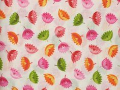 Lake House Fabrics, 3D Daisies, Bright Bold Colors on White Background, Cotton  #LakeHouseDryGoods