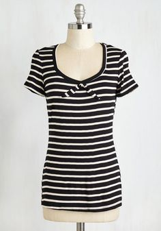 Charming Chocolaterie Top - Mid-length, Jersey, Knit, Black, Stripes, Tie Neck, Casual, Nautical, Short Sleeves, Better, White, Scoop