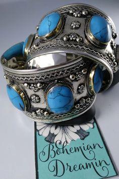 Turquoise Cuff, Turquoise Stone, Chunky Jewelry, Silver Jewelry, Bohemian Jewelry, Flower Designs, Fashion Jewelry, Bracelets, Earrings
