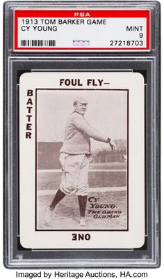 Baseball Cards:Singles (Pre-1930), 1913 Tom Barker Game Cy Young PSA Mint 9 - Pop Two, None Higher....