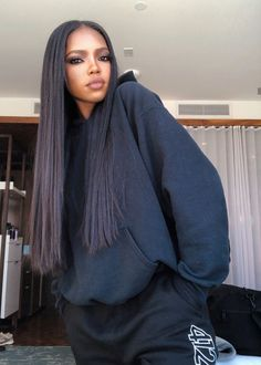 The beautiful sporting a natural straight look. Get inspired by this look by installing our Brazilian. Hair 24, Her Hair, Dark Skin Beauty, Hair Beauty, Beautiful Black Women, Beautiful People, Bougie Black Girl, Alexander Mcqueen, Black Girl Aesthetic