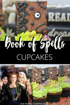 Sisters! It's time to put your magic to work and conjure up these awesome Hocus Pocus Cupcakes, complete with a Book of Spells topper! Chocolate fudge cupcakes are topped with green and purple frosting, and the spellbook is made from a pan of brownies! Halloween is upon us, so get ready to run amok, amok, amok! Purple Food Coloring, Gel Food Coloring, Halloween Party Drinks, Halloween Cupcakes, Chocolate Fudge Cupcakes, Candy Eyeballs, Cheap Halloween Decorations, Purple Pumpkin, Dessert Recipes For Kids