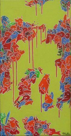 Transition - 30x60 cm,  Acrylique et pastel à l'huile sur toile