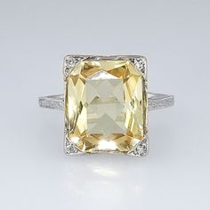 Bright Art Deco 3.73ct Natural Yellow Sapphire & Diamond Filigree Ring 18k | Antique & Estate Jewelry | JewelryFinds.com Price: $4200.00 SOLD: 11/19/14