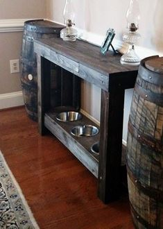 ht console table/ dog hangout with 18 drawer and three diameter holes equal distance apart on bottom shelf. 32 has 2 holes and 60 has 4 - Tap the pin for the most adorable pawtastic fur baby apparel! You'll love the dog clothes and cat clothes! Dog Food Stands, Dog Bowl Stand, Dog Crate Table, Dog Feeding Station, Dog Station, Dog Food Bowls, Dog Food Storage, Crate Storage, Dog Rooms