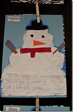"Glue and shaving cream ... ""If I were a snowman at night..."" after reading Snowmen at Night"