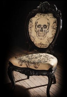 "Inked Leather Baroque Chair created by created by Mama Tried studios, which is run by renowned tattoo artist, Scott Campbell. According to Apartment Therapy.com, ""...they're not even available to the public (we think): only 200 of these chairs were made exclusively for the FEARnet horror network."""