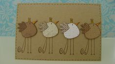 kraft ...these birds are adorable...row of four fantasy fowl ...