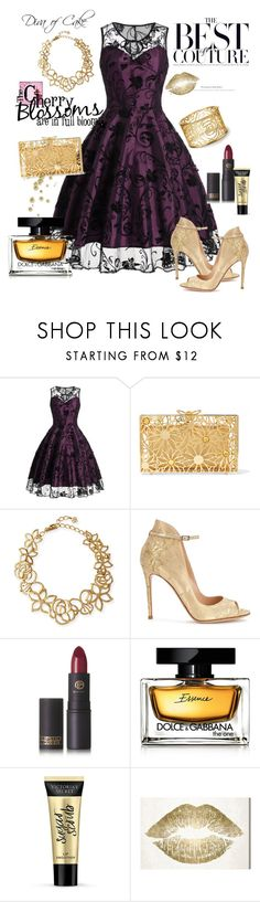 """""""elegant dress for tonight"""" by Diva of Cake on Polyvore featuring Charlotte Olympia, Oscar de la Renta, Gianvito Rossi, Lipstick Queen, Dolce&Gabbana, Victoria's Secret and Oliver Gal Artist Co."""