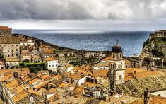 Download wallpapers Dubrovnik, hdr, urban skyline, Adriatic Sea, Mediterranean Sea, cloudy weather, Croatia