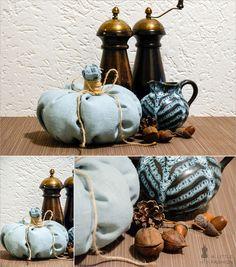 Herbst-Dekoration auf vollen Touren… Stoff-Kürbis (A Little Fashion), Salz-/Pfeffermühle aus Holz, Keramik-Krug (Flohmarktfund), Eicheln & Co.