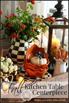 FALL KITCHEN TABLE VIGNETTE-bringing the beauty of fall to your kitchen tables, lots of doable ideas! stonegableblog.com