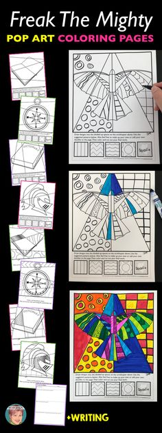 Talk to your students about the symbolism found in the novel, Freak the Mighty using these fun, unique and easy coloring pages + writing prompts. There are interactive designs (great for older students) and pattern filled designs (great for differentiation among your students). Included are designs for the symbols ornithopter, dictionary, compass, blank journal and King Arthur/knight. #freakthemighty #freakthemightyactivities Art Sub Lessons, Reading Lessons, Arthur Knight, Freak The Mighty, 6th Grade Ela, Easy Coloring Pages, Middle School Reading, Art Worksheets, Blank Journal