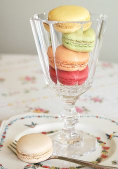 Elegant macarons served in glass