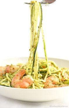 Pesto Zoodles Shrimp Recipe shewearsmanyhats.com