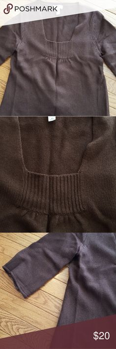 LOFT 3/4 Sleeve Sweater LOFT three-quarter sleeve sweater. Chocolate brown in color. Excellent condition. LOFT Sweaters