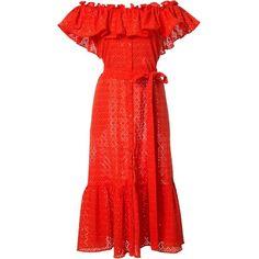 Lisa Marie Fernandez off-shoulders belted dress (€1.405) ❤ liked on Polyvore featuring dresses, red, red dress, belt dress, belted dresses, off shoulder dress and lisa marie fernandez